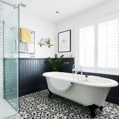Bathroom makeover with roll top bath statement floor tiles and wood top panelling in this three-bedroom Victorian terraced house in Fordingbridge, Hampshire Cottage Bathroom Design Ideas, Bathroom Interior Design, Bathroom Styling, Bathroom Designs, New Bathroom Ideas, Bathroom Plans, Bathroom Pictures, Bad Inspiration, Bathroom Inspiration
