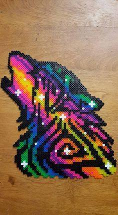 Rainbow Galaxy Wolf perler by LadyRaveicorn - Kandi Photos on Kandi Patterns