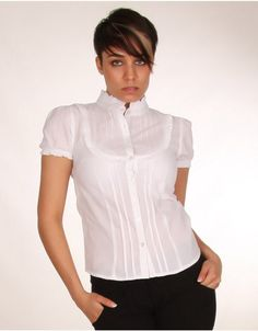 Frill Collar Bib Detail White Short Sleeve Blouse- ChiaraFashion