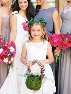 Flower girl cuteness: http://www.stylemepretty.com/texas-weddings/horseshoe-bay/2016/01/31/an-artists-elegant-bougainvillea-filled-wedding/ | Photography: Loft Photography - http://www.loftphotography.com/