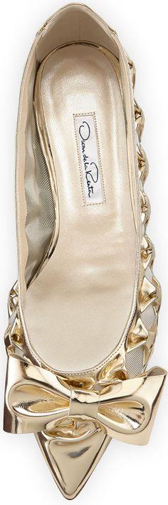 Oscar de la Renta Trina Specchio Bow Flat, Platinum
