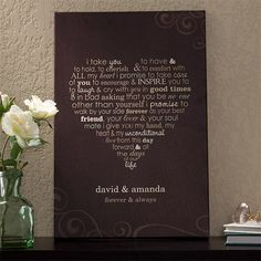 cute vows! and cute to have made into a poster.