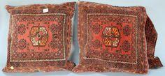 "Pair Oriental bagfaces made into pillows.  1'9"" x 1'11""  Estimate: $150 - $250"