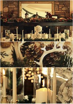 Winter Wedding Inspiration: Holiday in the Forest Tablescape {antlers, rustic wedding, country wedding, winter wedding, December wedding, DIY wedding, wedding centerpiece}