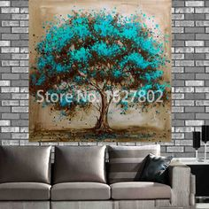 Hand Painted Modern Tree Art Decoration Oil Painting On Printed Canvas Landsacpe Wall Pictures For Living Room Decor