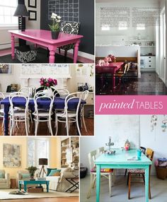 Ok, ok, last GlitterGuide pin. Painted tables add such pops of color! (via http://theglitterguide.com/2011/10/06/interior-style-file-painted-tables/)