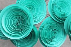 12 Jumbo Teal Spiral Paper Wedding Flowers  by Scrappuchino, $16.00- in navy