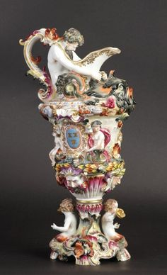 Antique Capodimonte Ewer. 19th cent. Ht. 17. Made in Naples, Italy.