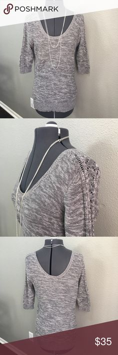 "Roxy gray 3/4 sleeve scoop neck sweater small Roxy gray 3/4 length sleeve sweater size small beautiful detail on side of sleeve in excellent condition. Gorgeous scoop neckline in front and back. Pit to pit approximately 18"" length from shoulder approximately 26 1/2"" Roxy Sweaters Crew & Scoop Necks"