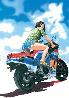 Anime Motorcycle, Japanese Motorcycle, Kritzelei Tattoo, Character Art, Character Design, Honda Cub, Bike Art, Comic Art, Concept Art