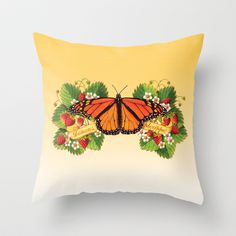 Monarch Butterfly with Strawberries Throw Pillow by Patricia Shea Designs - 20.00