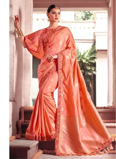 66529a91a3015 Peach Resham Work Fancy Fabric Classic Saree Floral Print Sarees