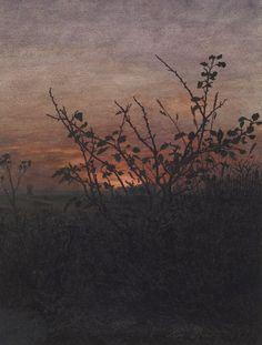 Léon Bonvin 'Sunset, Woodland Scene' 1864   by Plum leaves