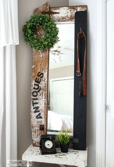 turn a ho hum mirror into a smash junk hit with scrap wood