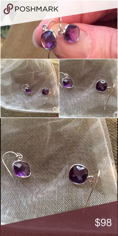 Closet clear outSterling & Amethyst Drop Earrings Brand New 3.50 CTW Genuine Amethyst Drop Earrings in  0.925 Sterling Silver come in original gift pouch. Stone shape is cushion and stone cut is checkerboard. Fish hook backings. Dimensions are 13mm x 7 mm Jewelry Earrings