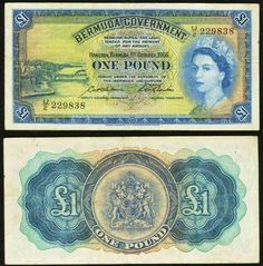 1966 Bermuda One Pound Pick Number 20c Young Queen Elizabeth II Beautiful Very Fine Banknote