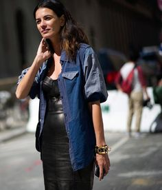 #LeilaYavari killing it in leather & chambray. NYC.