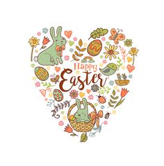 Cute Easter festive banner for greeting card with holiday traditional symbols in doodle style in heart shape.
