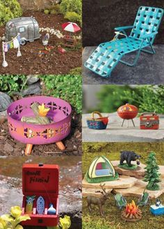 42 Fairy Garden Ideas - camping fairy garden #miniaturefairygardens