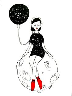 Instagram: my_moody_my #ink #inkillustration #inkpainting #illustration #drawing #sketch #doodle #illustrationart #woman #blackink #red #socks #moon #galaxy