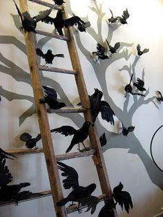 Love this..black birds/ravens, barren black tree and ladder  + DIY + Halloween Home Decor Ideas.