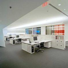 White modern office space....like storage ideas