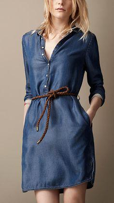 Robe tunique en denim | Burberry