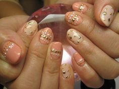 nude + peach + pearl + gold stud nails