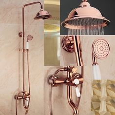 Luxury Rose Gold Bathroom Bath and Shower Set------- I NEED THIS #bathroomfaucets Gold Bedroom, Gold Bedding, Gold Shower, Shower Set, Bath Shower, Bathroom Bath, Hand Held Shower, Shower Faucet, Bathroom Ideas