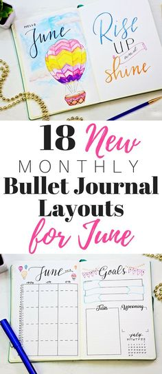 New bullet journal monthly layouts for june and summer! Includes June cover page, printable monthly calendar, habit tracker, mood tracker and more! #monthlyspread #bulletjournalcommunity #planneraddict #handlettered