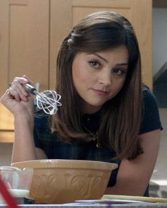 """""""Jenna, in series when you were inside the Dalek prison camp, you talked about making souffles. Doctor Who Clara, Dancing On The Edge, Doctor Who Companions, Goth Hair, David Tennant Doctor Who, Doctor Who Quotes, Clara Oswald, Rory Williams, Donna Noble"""