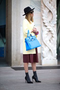 I keep coming back to this photo. It's clean, love the socks, the hat, and the blue is perf. The Best Milan Fashion Week Street Style: Fall 2015  - HarpersBAZAAR.com