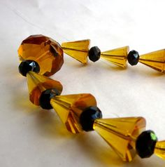 Vintage Art Deco Necklace Geometric Cones Honey by AustinModern, $65.00