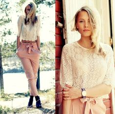 White lace blouse & pink pants