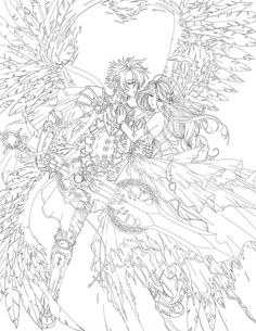Lineart by juhaihai REDONE by secretsheik on DeviantArt Detailed Coloring Pages, Fairy Coloring Pages, Adult Coloring Book Pages, Coloring Pages To Print, Printable Coloring Pages, Coloring Sheets, Coloring Books, Best Color Schemes, Deviantart
