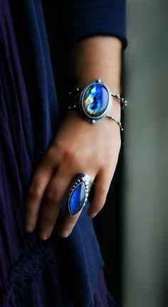 RESERVED - The Light Beneath - Labradorite Sterling Silver Cuff Bracelet