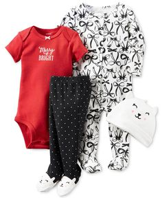 Carter's Baby Girls' 4-Pc. Merry & Bright Hat, Bodysuit, Footed Coverall & Footed Pants Layette Set