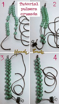 1 - Fold the cord, but some should be short (slightly longer than the actual length of the bracelet, and the other at least 1.30 m., which is what will become the fabric. You tie a knot, where then hook the carabiner. Then you have two ends, the short and long. For each tuck the same number of balls (and figure you, depending on the ball and the size of the bracelet). 2-3 - Hold the short end, and you rolling (out) with the long ball from one side and one from the other upwards, zigzag, up to...