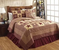 Our Colonial Star Burgundy King Quilt Bundle (Quilt and 2 Luxury Shams) will transform your room into a cozy primitive country retreat! https://www.primitivestarquiltshop.com/collections/colonial-burgundy-bedding-1 #primitivecountrybedroomsbeddingandaccessories