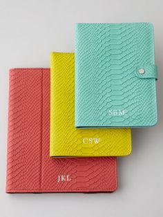 An embossed python iPad case ready for spring in coral, yellow, and mint.
