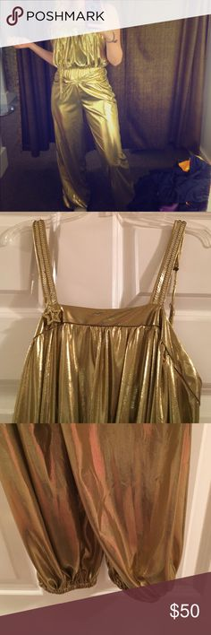 VINTAGE 7Os GOLD JUMPSUIT Vintage and fabulous! tag says Rubies! I don't see a size. Fits like a small/ 4. Waist to pants is about 45 in but waist is high! Also pants legs are scrunched some so I was able to still wear flats and I'm 5'2! So can work for short or small!!! How perfect  Vintage Other