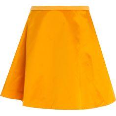 ACNE STUDIOS Kanda Shine Flare Skirt ($181) ❤ liked on Polyvore featuring skirts, acne, bottoms, orange skater skirt, shiny skirt, acne studios, orange skirt and skater skirt