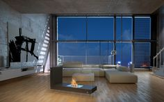 a loft living area. Modern Fireplace, Living Room With Fireplace, Fireplace Design, Loft Interior Design, Interior And Exterior, Loft Design, Home Epiphany, Loft Interiors, Fire Table