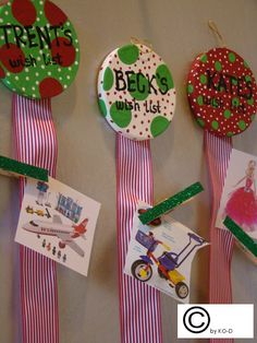 Christmas wish lists for the kids..let them cut pictures out then hang them up.  Great idea!!!