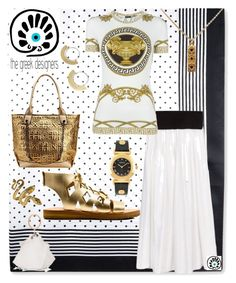 """IT'S GREEK TO ME"" by carolsha on Polyvore featuring STELLA McCARTNEY, MKF Collection, Versace, Luca Jouel, thegreekdesigners and cycladicframes"