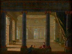 ATTRIBUÉ À PHILIPPE MEUSNIER Paris, 1655 - 1734  Deux personnages dans un intérieur de palais Huile sur toile 34 x 44,50 cm (13,26 x 17,36 in.)