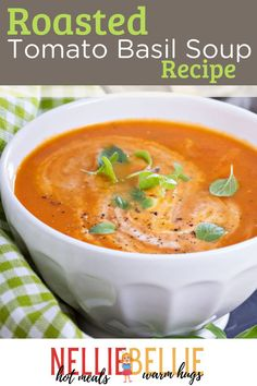 This is one of the easiest, freshest tomato soup recipes you'll find. Almost all of the time required is simply oven or simmering time…totally hands off. Let all those yummy fresh veggies do the work of blending into a delicious roasted tomato basil soup! Find out the recipe so you can make this on a cold night. #Roastedtomato #Homemadesoup Fresh Tomato Soup, Roasted Tomato Basil Soup, Oven Roasted Tomatoes, Tomato Soup Recipes, Easy Soup Recipes, Cooking Recipes, Homemade Pesto, Homemade Soup, How To Peel Tomatoes