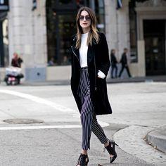A White Shirt, Striped Pants, a Black Blazer, and Heels