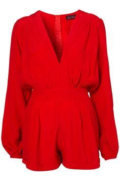 Red deep-V romper - Bettie Girls Fashion Blog
