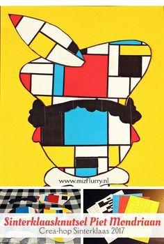 Uitleg hoe je een Piet Mondriaan maakt (Sinterklaasknutsel). Gratis printable van het Mondriaan grid (De Stijl) en losse Piet-onderdelen. Deelnemer van Crea-hop Sinterklaas 2017. Piet Mondrian, Diy For Kids, Crafts For Kids, Arts And Crafts, Cute Crafts, Creative Kids, Art Plastique, Art Projects, Inspiration